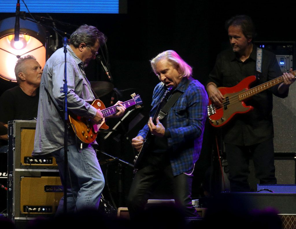 "Joe Walsh (center) and Vince Gill (far left) lay into ""Rocky Mountain Way"" while performing at the Crossroads Guitar Festival on Saturday, Sept. 22, 2019 at the American Airlines Center in downtown Dallas."