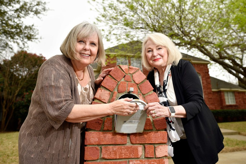 Mary Sarao, left, and Barbara Pitts, are shown next to Barbara's mailbox outside her home in Plano.