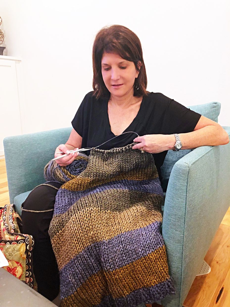 Diane Seimetz Duncan started knitting more than 30 years ago to give her something to do with her hands when she quit smoking. She's making this sweater for her husband.