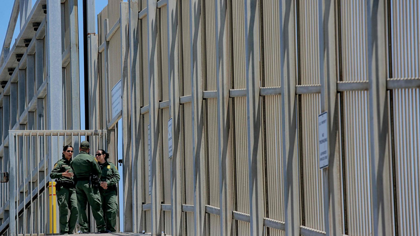 US Customs and Border Protection agents patrol the United States-Mexico Border wall at Friendship Park in San Ysidro, Calif., recently.