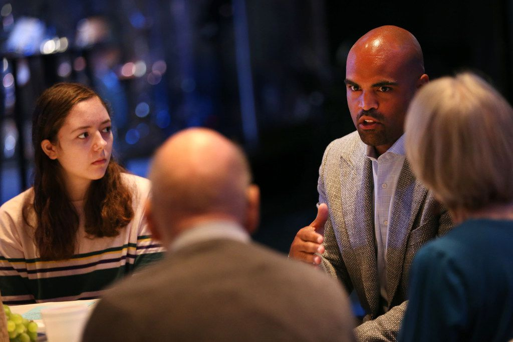 Colin Allred, Democratic candidate for Congress, spoke recently at Lovers Lane United Methodist Church during a small group discussion on gun violence. Justin Irwin, a student at Marjory Stoneman Douglas High School in Parkland, Fla., spoke to church members about the day of the school shooting and his friend Nicholas Dworet, who was killed.