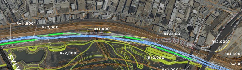 An October 2015 draft design of Trinity Parkway showed how the road would bend as the first phase moves from one side of the eventual footprint of the large-scale version to the other.