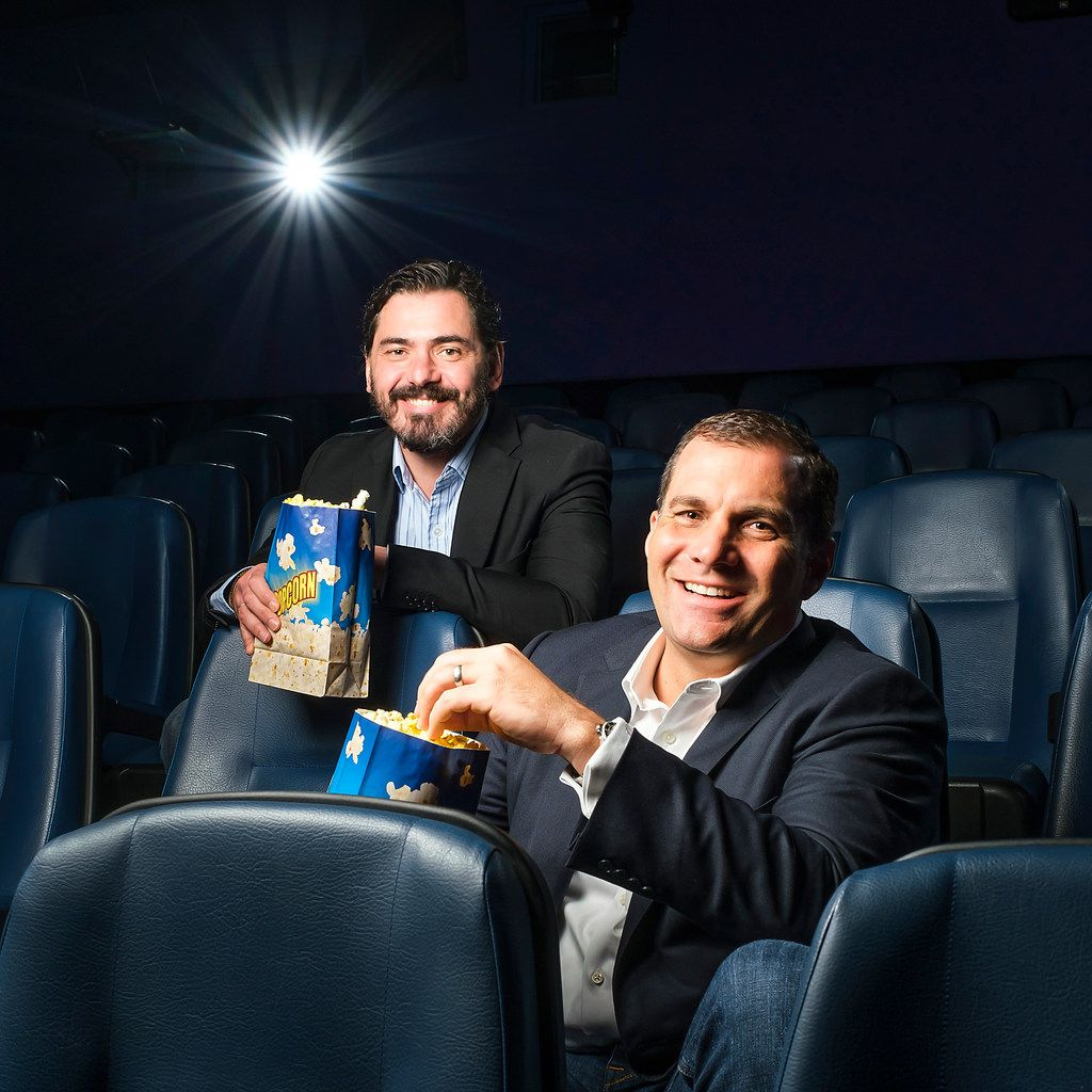 Andy Mitchell (front) and Milos Brajovic, co-presidents of Dallas-based Lantern Entertainment, posed for a portrait at the Highland Park Village Theater.