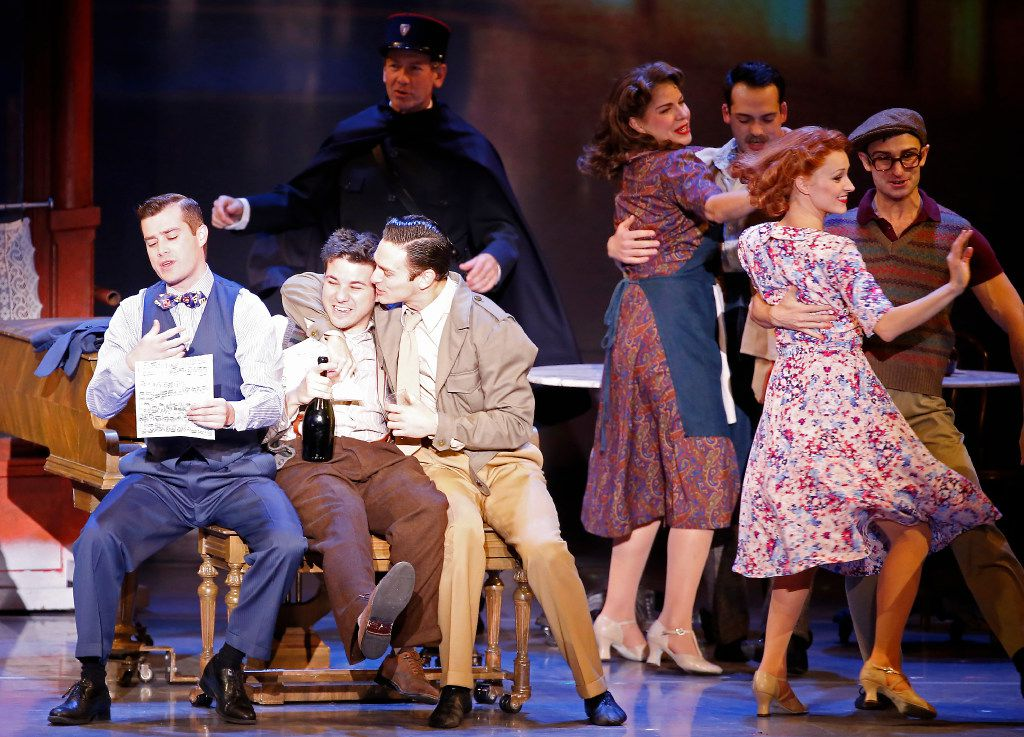 An American in Paris features (from left)  Nick Spangler, Etai Benson and Garen Scribner. The national tour  presented by Dallas Summer Musicals is playing at Fair Park Music Hall in Dallas.