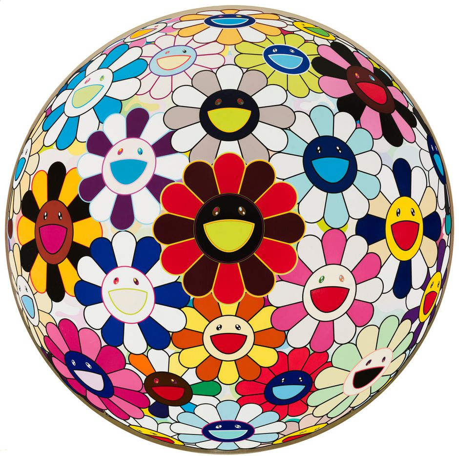 """Takashi Murakami """"Flower Ball (Lots of Colors),"""" 2008 Acrylic and platinum leaf on canvas mounted on board 59 in. (150 cm) diameter Cari and Michael J. Sacks Copyright 2008 Takashi Murakami/Kaikai Kiki Co., Ltd. All Rights Reserved. Part of the """"Takashi Murakami: The Octopus Eats Its Own Legs"""" exhibit at the Modern Art Museum of Fort Worth June 10-Sept.16, 2018."""