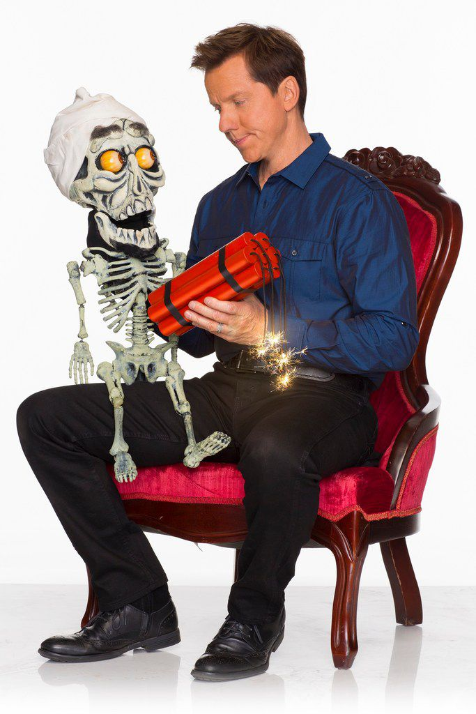 Jeff Dunham, who graduated from Richardson High School, poses with one of  his characters, Achmed.