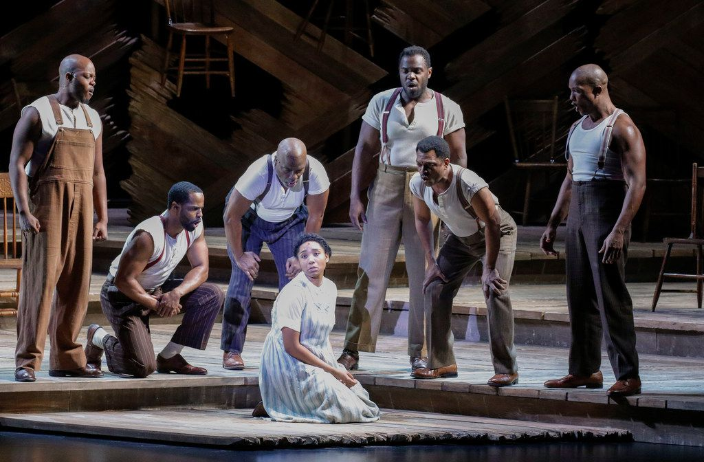 The cast of The Color Purple performs at Fair Park Wednesday. The show runs through Feb. 4 at Music Hall at Fair Park.