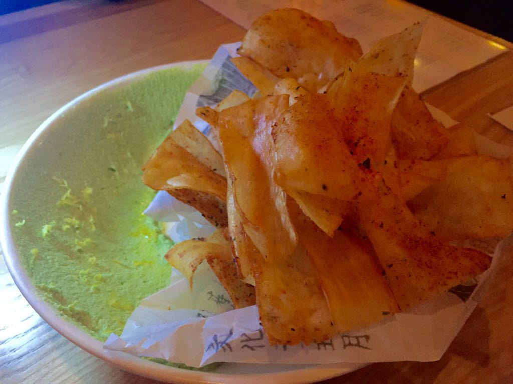 Yucca chips with black lime, togarashi and edamame hummus at Top Knot in Dallas