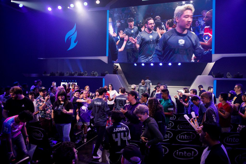 The Dallas Fuel team walks out for the Overwatch League match between the Dallas Fuel and LA Gladiators on Friday, August 9, 2019 at Blizzard Arena in Burbank, CA. (Photo by Patrick T. Fallon/Special Contributor to The Dallas Morning News)