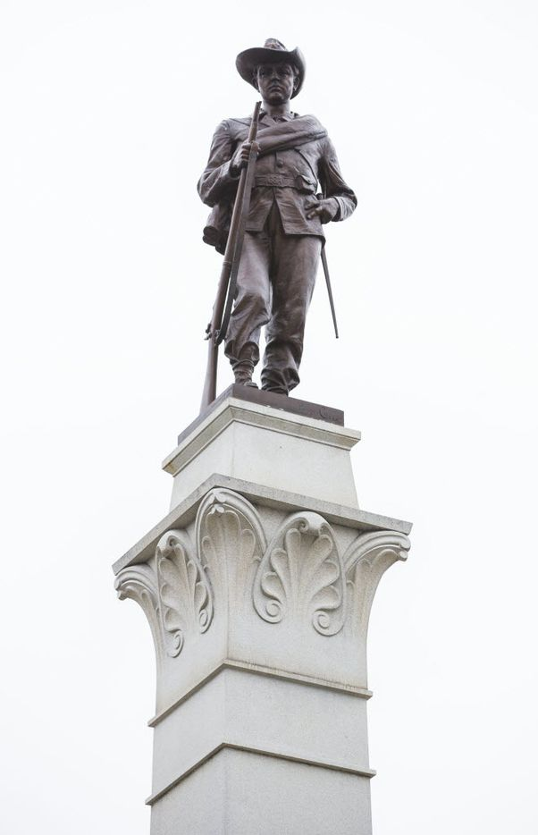 The Hood's Texas Brigade Monument outside the Texas state capitol on Thursday, February 26, 2015 in Austin.