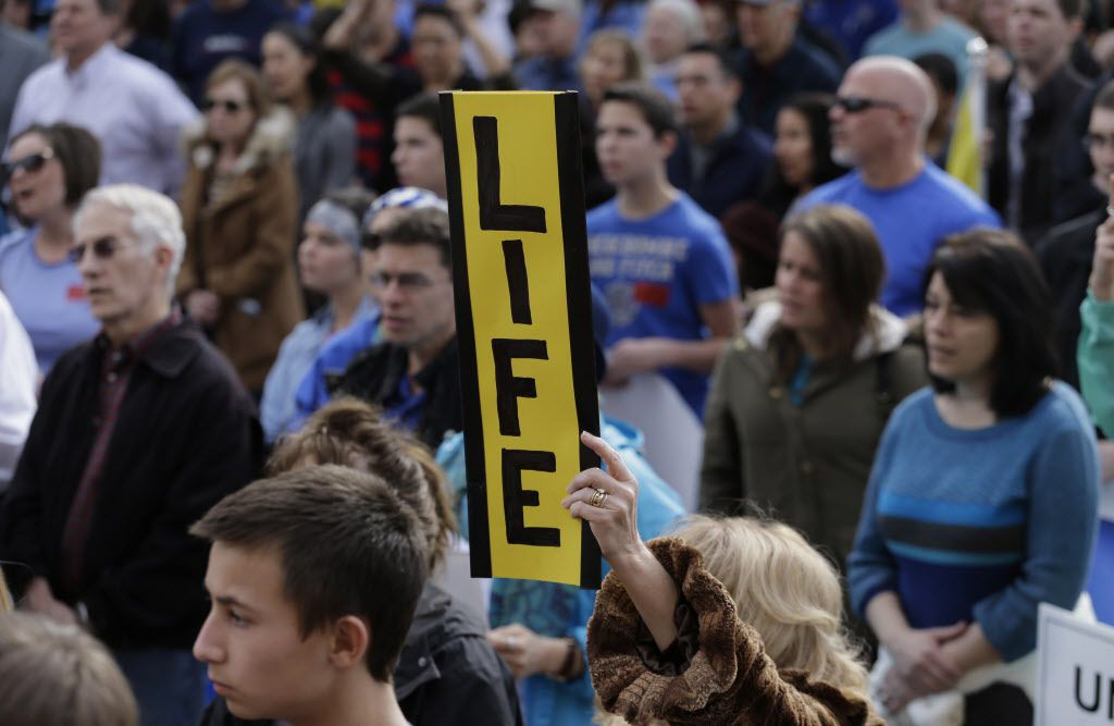 Anti-abortion supporters gather around the Texas Capitol during a Texas Rally for Life, Saturday, Jan. 24, 2015, in Austin, Texas. (AP Photo/Eric Gay)