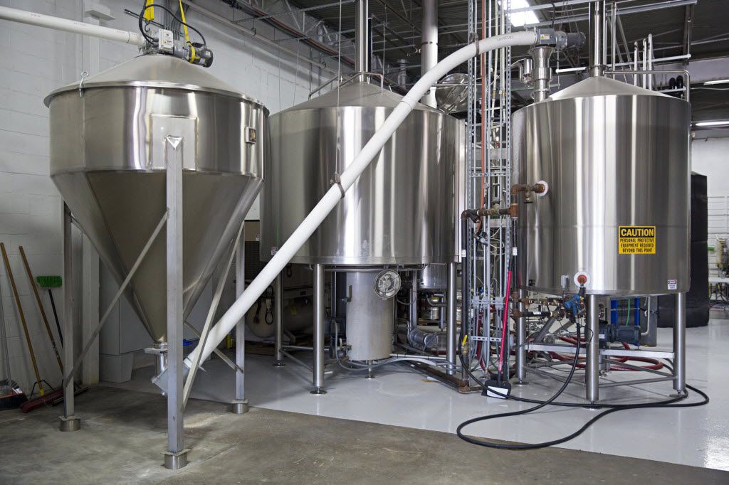 Large, stainless steel tanks at 3 Nations Brewing