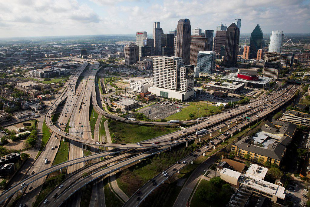 The downtown skyline, photographed from above the interchange of US-75 at Woodall Rogers on Thursday, March 23, 2017, in Dallas, TX. (Smiley N. Pool/The Dallas Morning News)