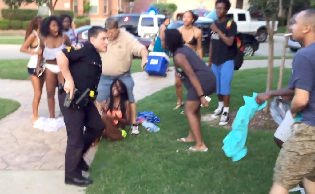 McKinney police officer Eric Casebolt pulls his gun as he turns away from a girl he was arresting (seated) to go after two black males (far right) who had come to her aid.   Corporal Eric Casebolt has been placed on administrative leave by the McKinney, Texas, police department after a video surfaced that raises questions about his actions during an incident at a public pool. Casebolt and other officers responded to the pool on June 5 for a report of a disturbance involving multiple juveniles who were not permitted to be there and were refusing to leave, police said.