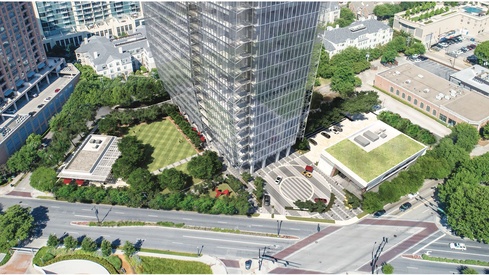 Granite Properties wants to build an office tower, a park and open space, and two restaurant buildings at the corner of Maple Avenue and Cedar Springs Road in Uptown.