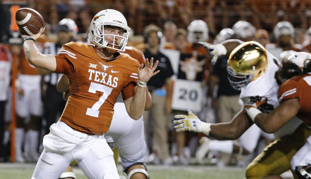 Texas quarterback Shane Buechele (7)throws a pass in the fourth quarter during the Notre Dame Fighting Irish vs. the University of Texas Longhorns NCAA football game at Darrell K. Royal Memorial Stadium in Austin on Sunday, September 4, 2016. (Louis DeLuca/The Dallas Morning News)