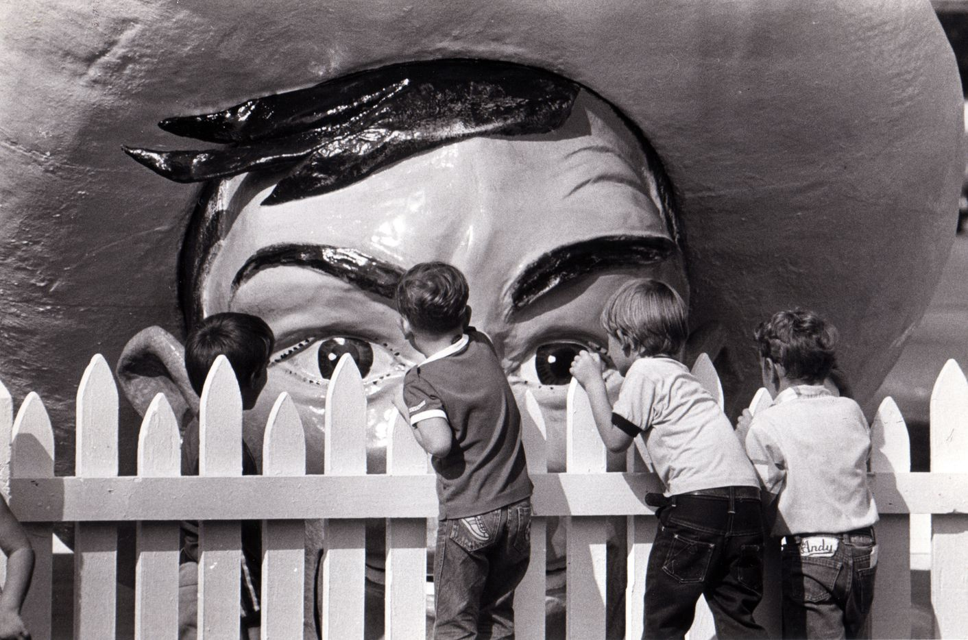 Big Tex peeks over the fence as he's assembled in 1981.