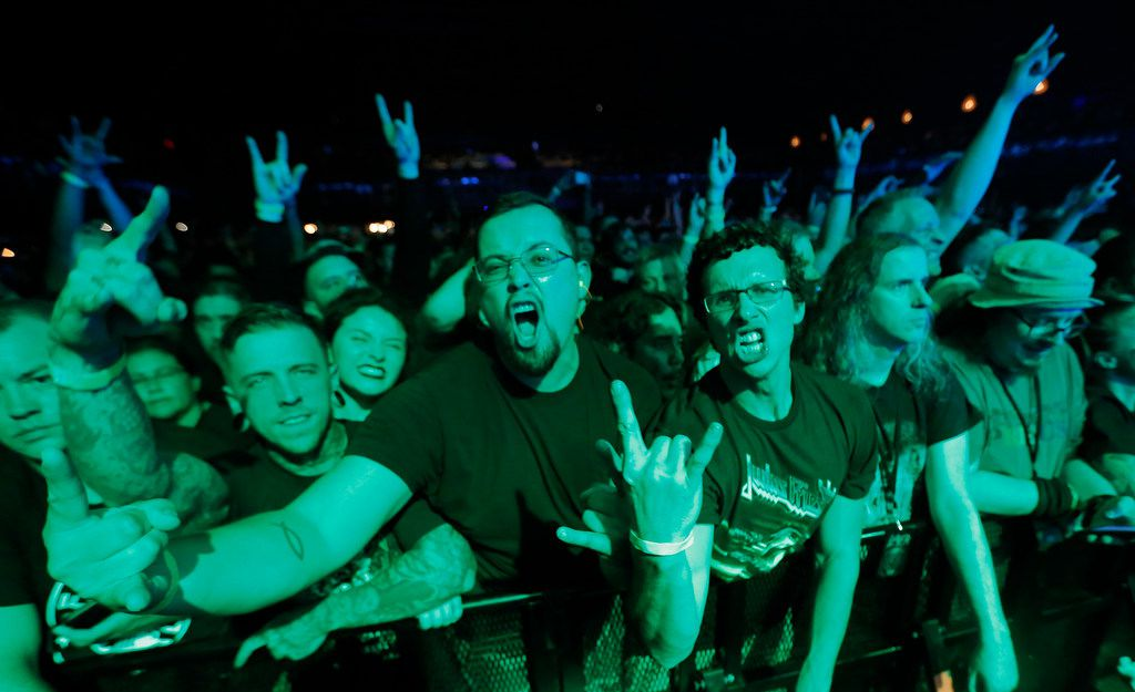 Lamb of God fans get into the music as the band performs in concert at the Bomb Factory in Dallas, photographed on Tuesday, June 19, 2018. (Louis DeLuca/The Dallas Morning News)