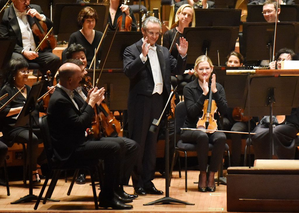 Fabio Luisi was introduced before conducting the Dallas Symphony Orchestra in the Dallas premiere of Aureole, by Augusta Read Thomas, in a concert Sept. 12 at the Morton H. Meyerson Symphony Center.