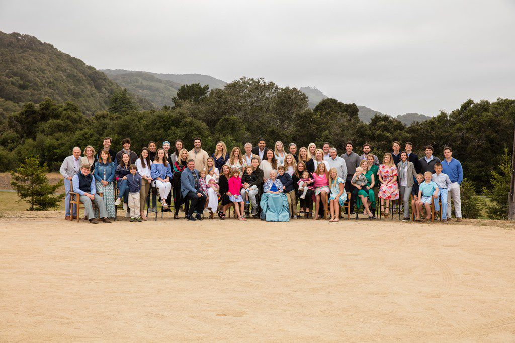 Caroline Rose Hunt is surrounded by her immediate family from her five children of Loyd B. Sands in May at Carmel Valley Ranch, where Rosewood Corp. held its 15th annual stakeholders meeting.