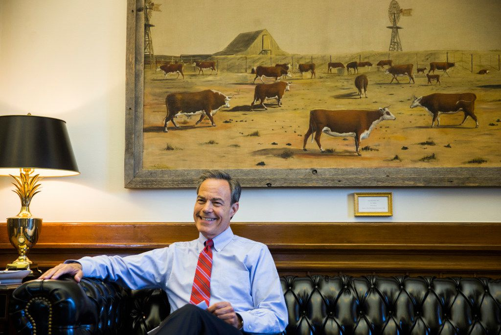 "Speaker Joe Straus isn't exuberant about the 20 items now before lawmakers in their special session, but he said the House will soldier through. In his second-story office in the Texas Capitol, he sits beneath a painting on loan from San Antonio's Witte Museum, ""Quien Sabe Ranch,"" by L. Schloss."