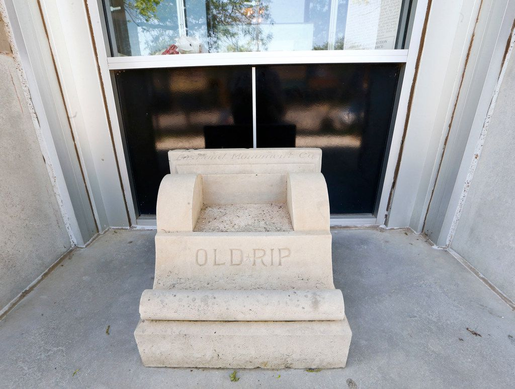 The old resting place for Old Rip, a legendary petrified horned lizard, which is now housed in a display case in the new city hall (right above this case) in Eastland, Texas on May 11, 2018.