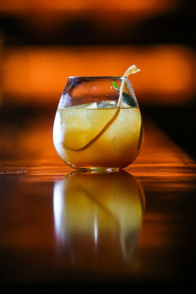 The Mansion Gin and Tonic is made with Junipero, house made tonic, kaffir lime leaf and grapefruit zest.