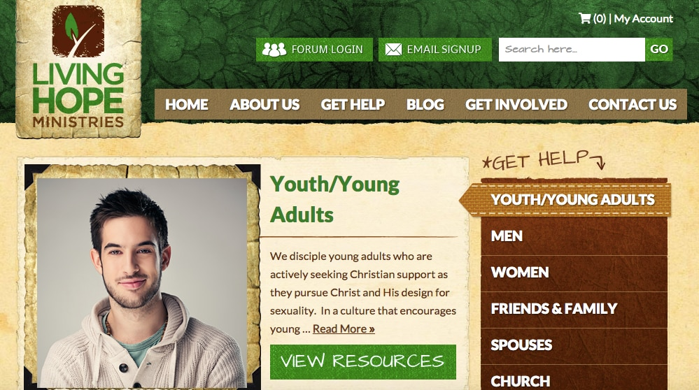 """A screengrab from the Living Hope Ministries website shows the group purports to help those """"seeking Christian support as they pursue Christ and HIs design for sexuality."""" On Friday, Dec.21, 2018, the Arlington-based ministry was surprised to see that Apple has removed its app from the tech giant's store after LGBT groups lodged a complaint that it was engaging in conversion therapy."""