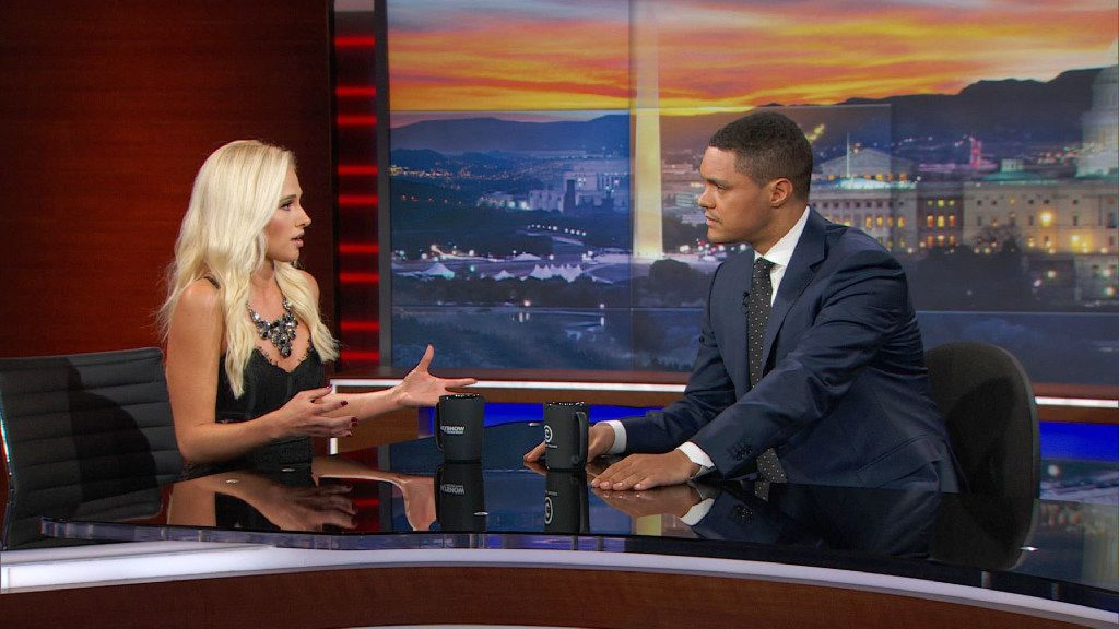 Tomi Lahren with Trevor Noah on the Daily Show, Wednesday, December 1, 2016. ORG XMIT: U5Srfv4pOMQMWg9pxvy7