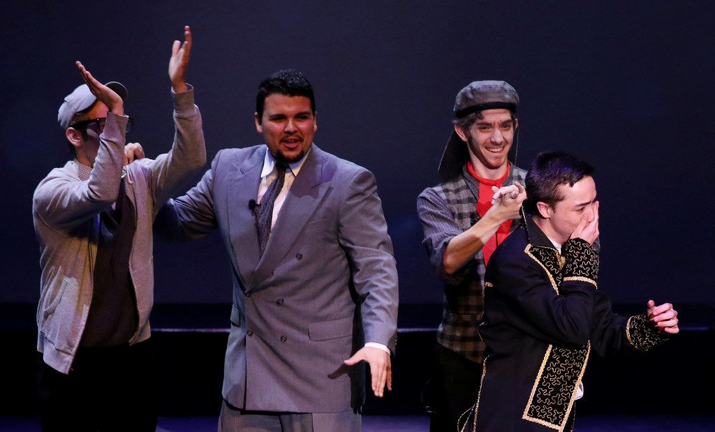 Noah Aguilar, of Frenship High School, learns he won the award for Best Leading Actor during the 7th annual Dallas Summer Musicals High School Musical Theatre Awards.