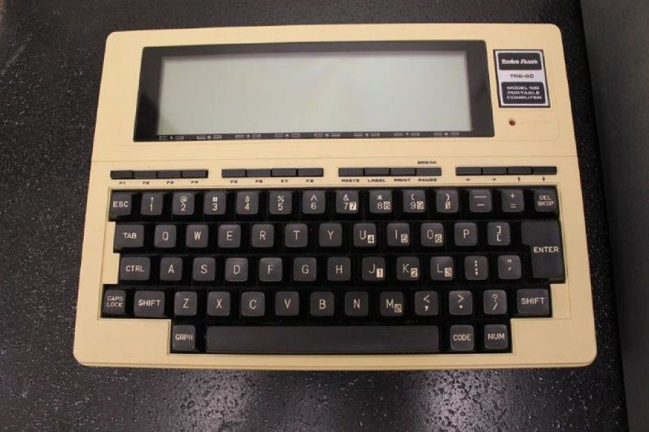RadioShack introduced the TRS-80 Model 100 portable computer in 1983. The 8-kilobyte version was $599, and the 32-kilobyte went for $1,134 back in the day, according to oldcomputers.net.  It ran on four AA batteries for 16 hours and weighed 3.8 pounds.