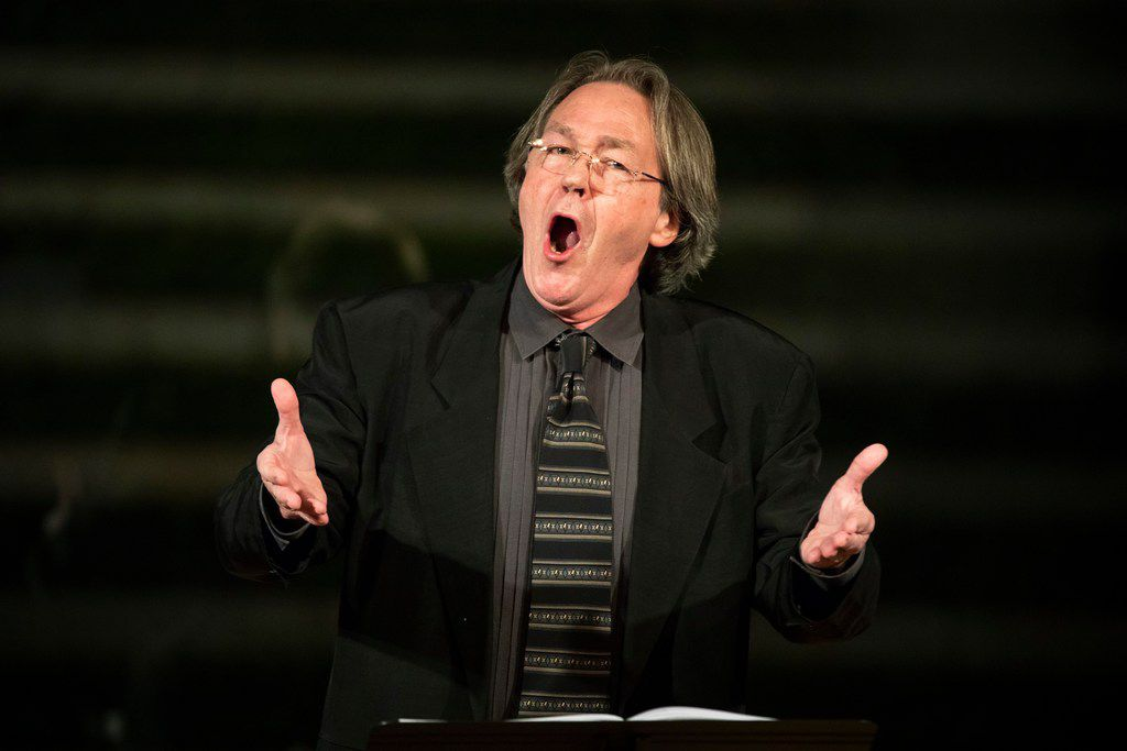 """Baritone William Sharp performs 'Four Walt Whitman Songs""""by Kurt Weill during a """"Soundings: New Music at the Nasher"""" series concert at the Nasher Sculpture Center on Friday, Jan. 4, 2019, in Dallas. (Smiley N. Pool/The Dallas Morning News)"""