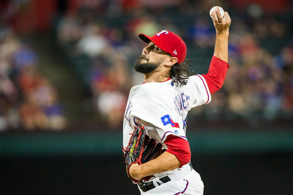 Texas Rangers relief pitcher Tony Barnette pitches during the eighth inning of a 9-3 victory over the Philadelphia Phillies at Globe Life Park on Wednesday, May 17, 2017, in Arlington. (Smiley N. Pool/The Dallas Morning News)