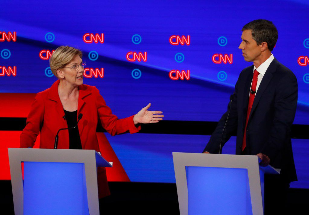 Sen. Elizabeth Warren of Massachusetts directed a remark toward Beto O'Rourke during the second round of Democratic debates in July.