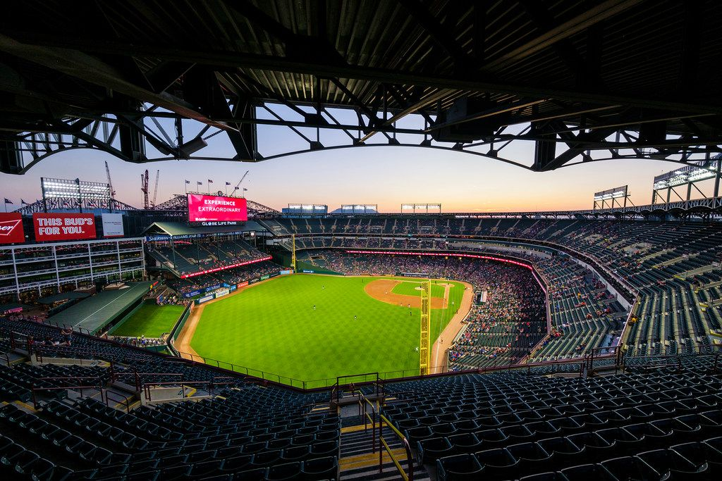 The Texas Rangers and Tampa Bay Rays play a game at Globe Life Park on Thursday, Sept. 12, 2019, in Arlington.
