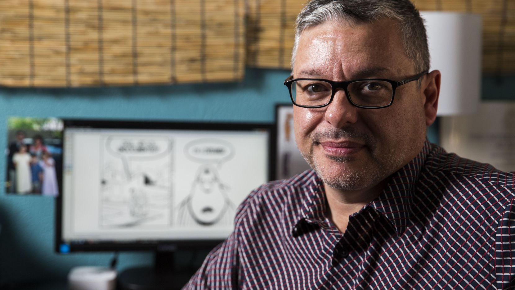 Héctor Cantú, creador del cómic Baldo, desde su hogar en Richardson. Uno de sus personaje reveló que es un dreamer. ASHLEY LANDIS/DMN