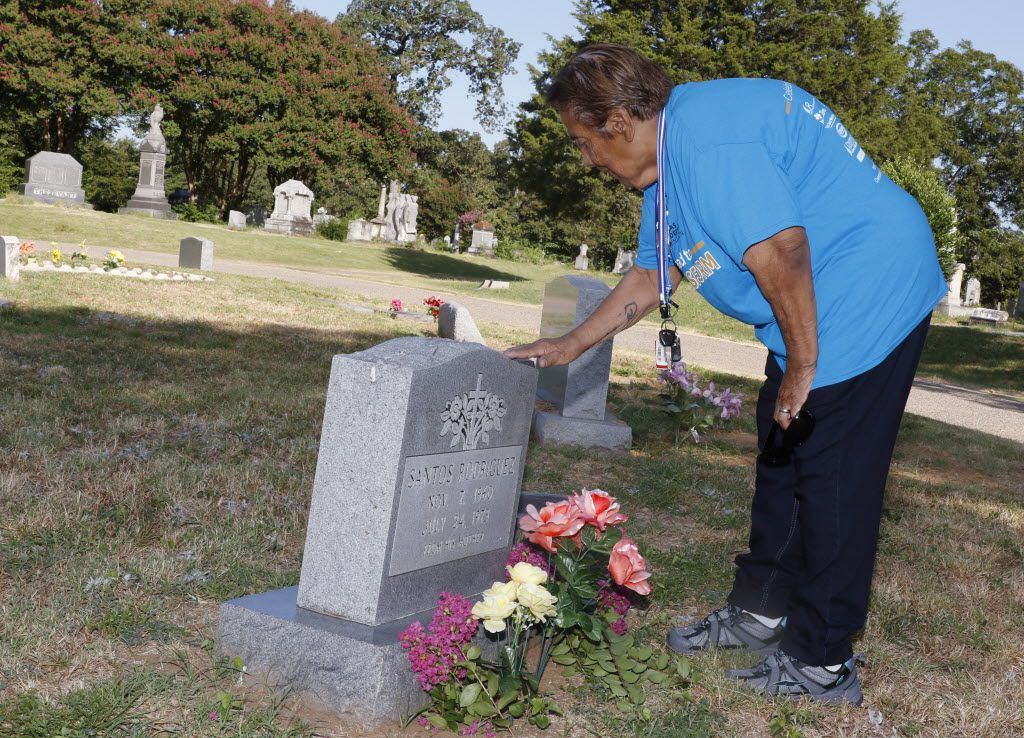 Bessie Rodriguez, mother to 12-year-old Santos Rodriguez, was killed 42 years ago by a Dallas police officer. Bessie and friends honored him on Friday, July 24, 2015 at Oakland Cemetery in Dallas.