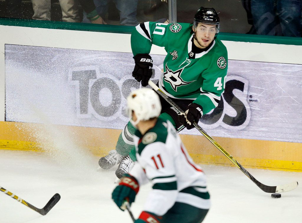Dallas Stars left wing Remi Elie (40) puts on the brakes as he looks to pass against the Minnesota Wild at the American Airlines Center, Saturday, February 3, 2018. The Stars won, 6-1. (Tom Fox/The Dallas Morning News)
