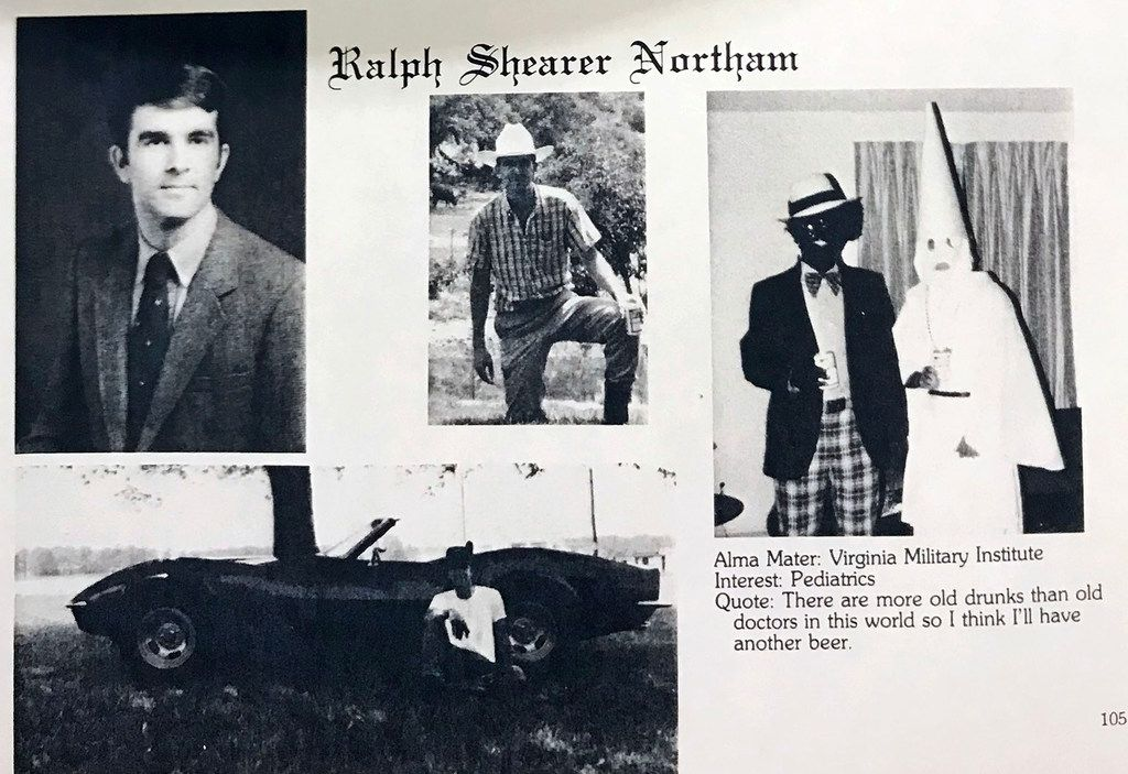 A photo from Gov. Ralph Northam's medical school yearbook shows two men, one in blackface and one in a Ku Klux Klan robe and hood, on the same page as the governor. A half-page from the 1984 Eastern Virginia Medical School yearbook, photographed by The Virginian-Pilot on Friday, Feb. 1, 2019.
