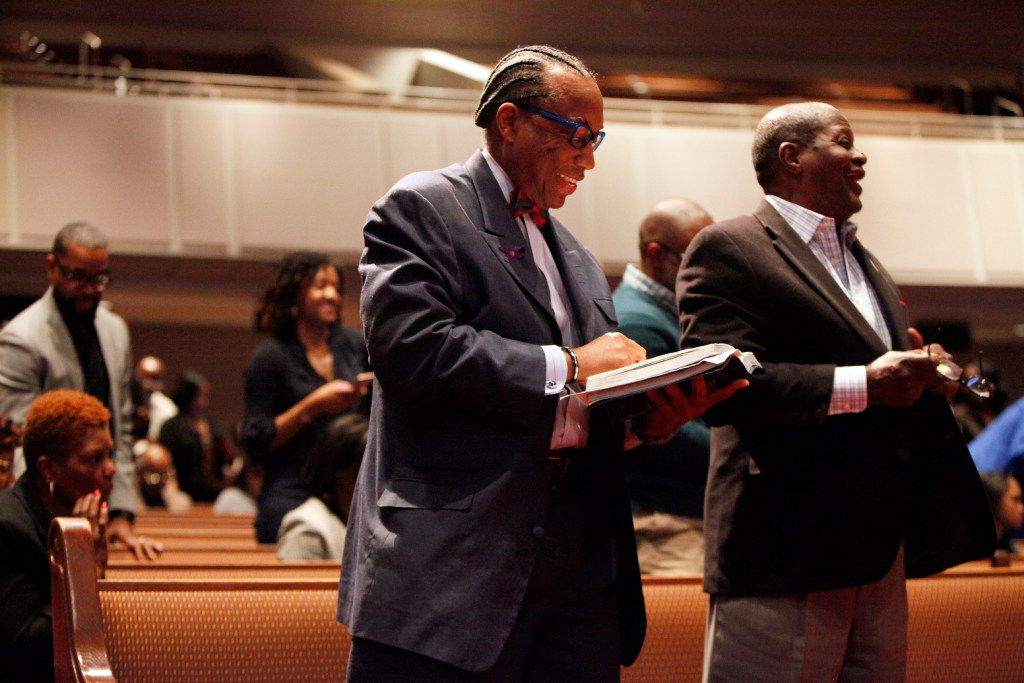 Dallas County Commissioner John Wiley Price stands with his Bible during a Sunday service at Friendship-West Church in South Dallas, Feb. 26, 2017. Ben Torres/Special Contributor