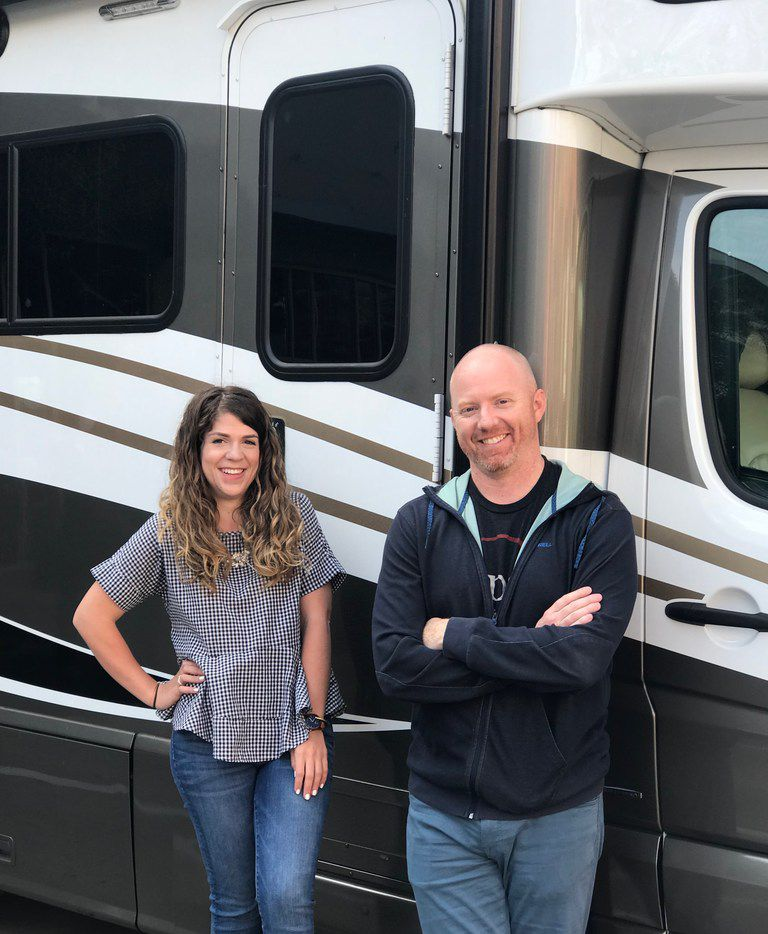 Caitlin Johnson (left) and Stephen Oliver (right) are on an epic, nine-day road trip touring more than 50 of Texas' breweries.