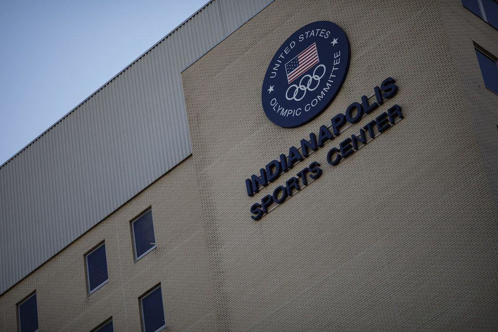 The offices of USA Gymnastics and the US Olympic Committee are seen on November 6, 2018 in Indianapolis. The committee announced its intention to revoke USA Gymnastics' status as the national governing body in continuing fallout from the Dr. Larry Nassar scandal.