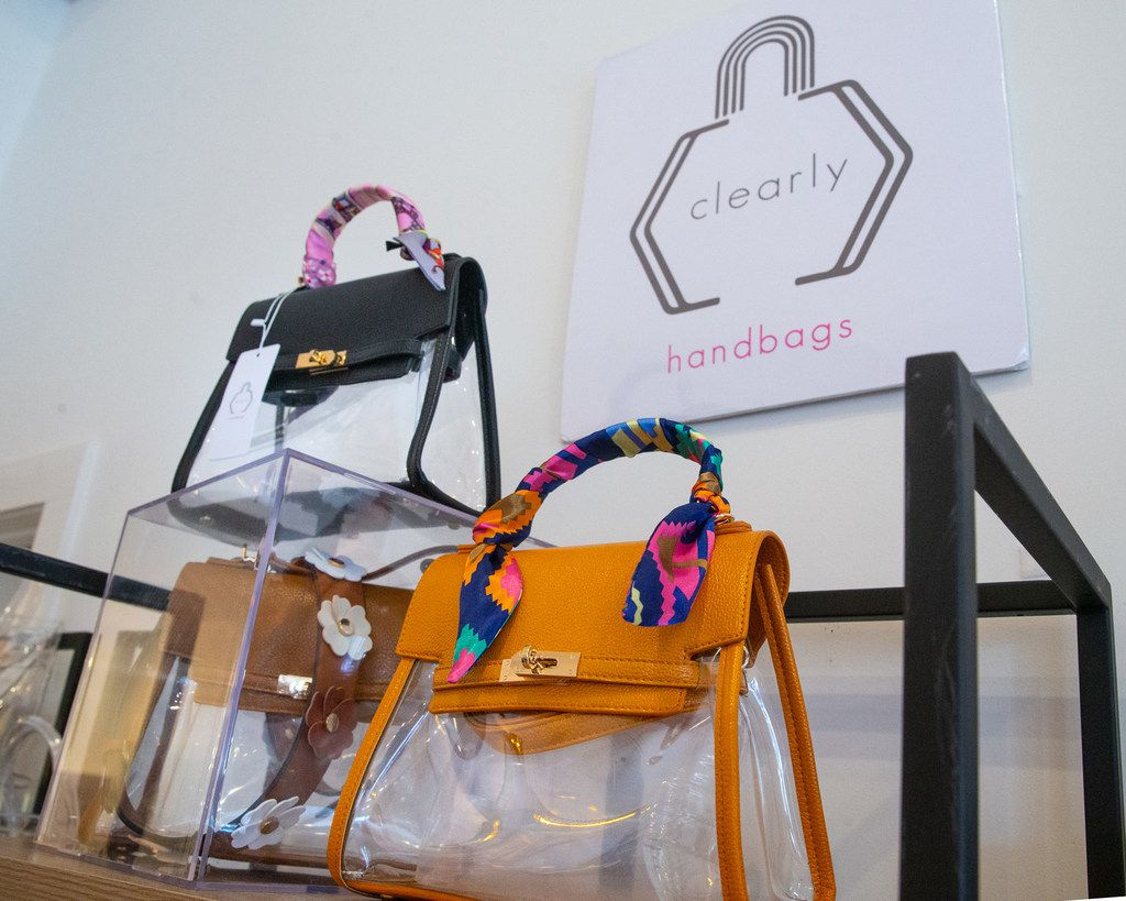 A collection of clear purses and bags designed by Kori Green