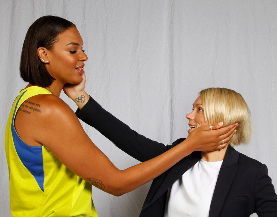 Liz Cambage (8) and Erin Phillips pose for a photo during Dallas Wings Media Day at the College Park Center on the UT Arlington campus Friday, May 4, 2018. (Ron Baselice/The Dallas Morning News)