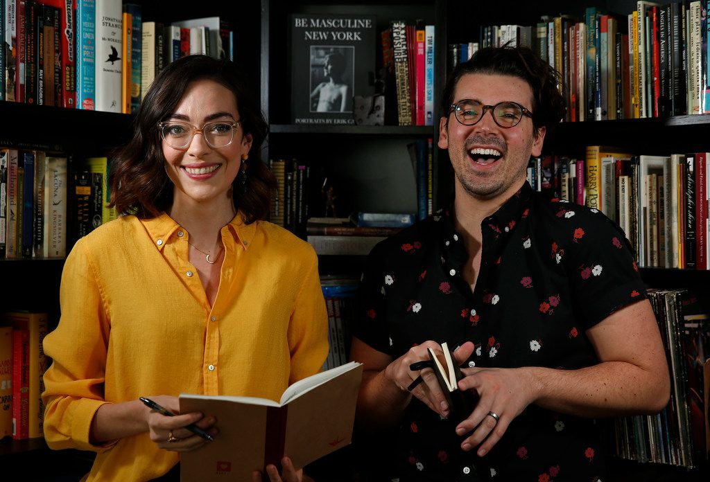 Playwrights Janielle Kastner, left, and Brigham Mosley pose for a photograph at Mosley's home in Dallas,  March 12, 2018.