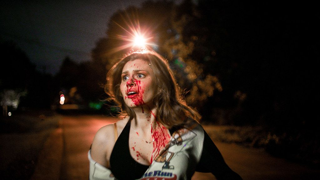 "Hayley Griffith stars in Chelsea Stardust's new horror film ""Satanic Panic."""