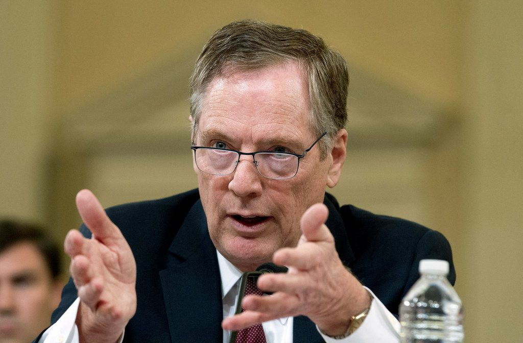 U.S. Trade Representative Robert Lighthizer testifies on trade policy before the House Ways and Means Committee on Capitol Hill on Wednesday.