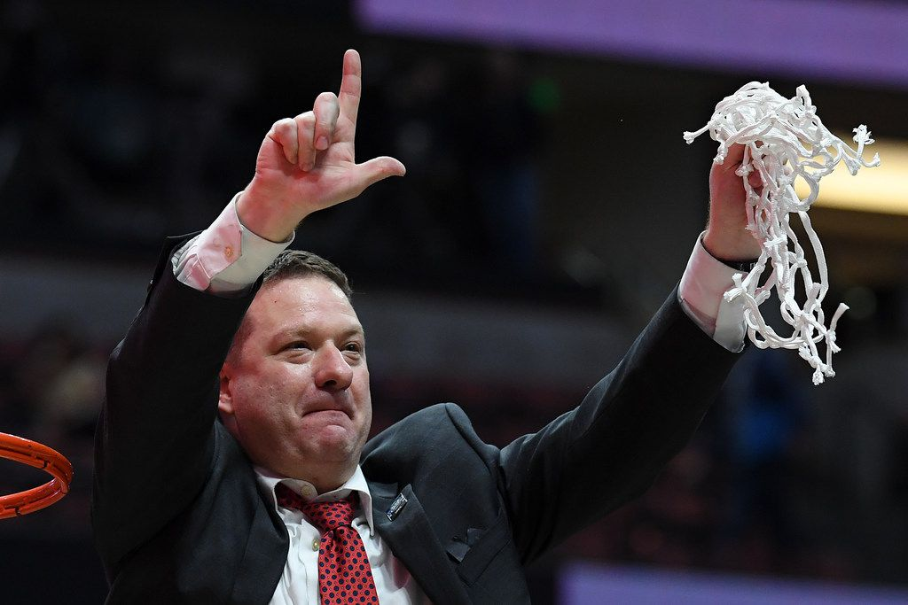 ANAHEIM, CALIFORNIA - MARCH 30: Head coach Chris Beard of the Texas Tech Red Raiders cuts the net after defeating the Gonzaga Bulldogs during the 2019 NCAA Men's Basketball Tournament West Regional at Honda Center on March 30, 2019 in Anaheim, California. (Photo by Harry How/Getty Images)