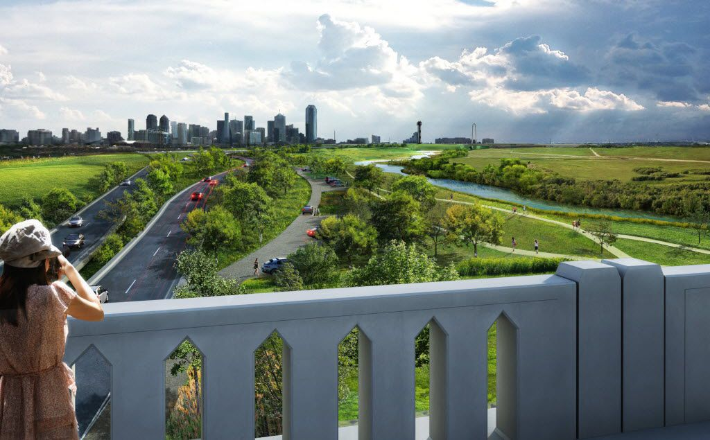 An artist rendering of the potential first phase of Trinity Parkway'€™s construction shows how the initial iteration of the toll road and a possible parking lot could fit into the footprint of the full-scale version of the road.  The view is from the Inwood Road bridge, looking east toward downtown Dallas. '