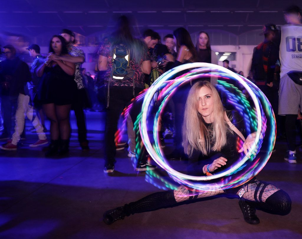 Breanna Willis dances to the music during the Lights All Night music festival at Dallas Market Hall in Dallas, TX, on Dec. 29, 2017. (Jason Janik/Special Contributor)